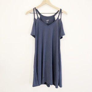 Alya Navy Blue Cold Shoulder Shirt Size Medium